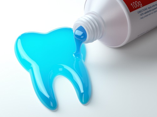 tooth created with toothpaste gel